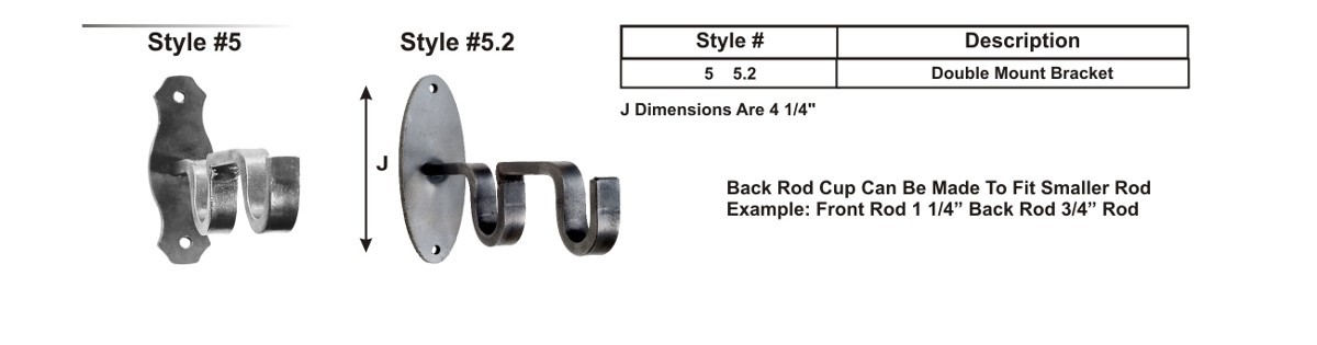 "Double Mount Brackets for 3/4"" and 1 1/4"" Rods"