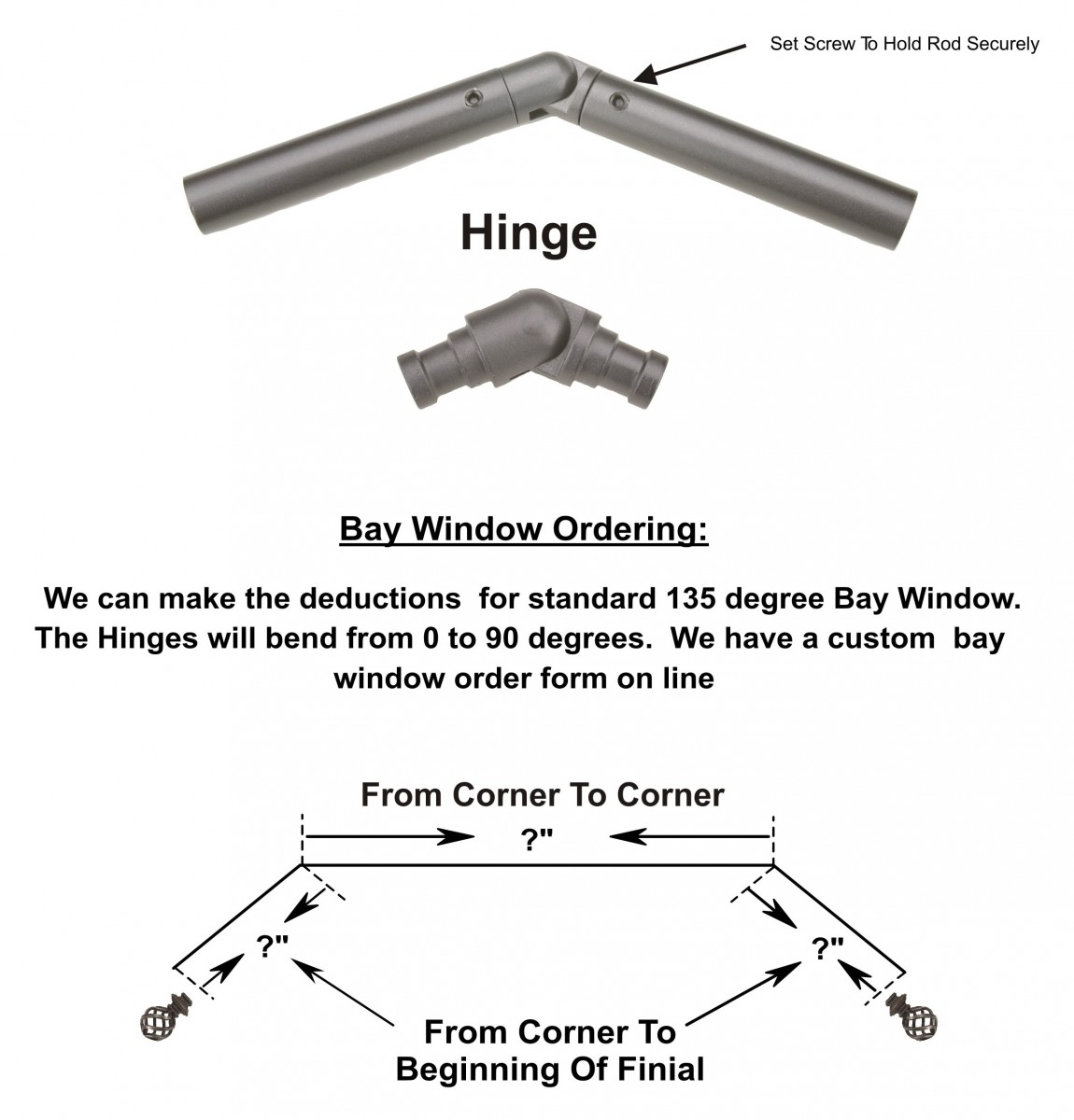 "Hinges for 1/2"" 3/4"" 1 1/4"" & 2"" Rods"